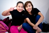 Our Manager Sharon with PSLE Primary Student at Poi Ching Primary.